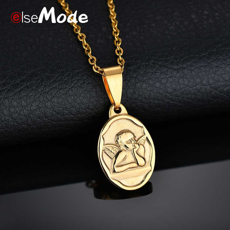 ELSEMODE Cute Angel Necklaces Gold Color 316L Stainless Steel Oval Pendant Necklace for Women Bridesmaid Gifts Love Jewelry