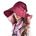 Elegante retro Pliegues mujeres sombreros para el sol Sombreros de Playa Sombrero de Verano Informal Anti-Ultravioleta chapeau femme Delgado hueso blando viajes sombrero de ala ancha