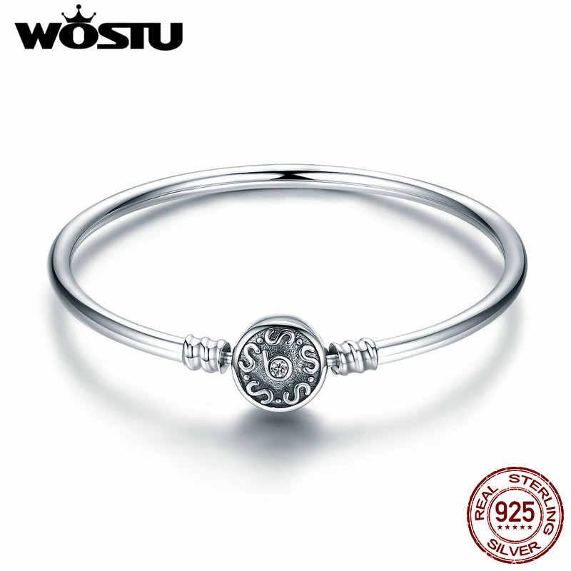 WOSTU คุณภาพสูง 100% 925 Sterling Silver VINTAGE รูปแบบ S กำไลข้อมือผู้หญิง DIY Charm สร้อยข้อมือแฟชั่นเครื่องประดับ CQB013