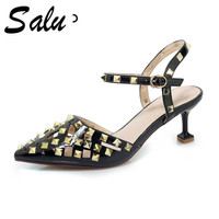 Salu BIG size 10 11 shoes woman Summer sandals white black red genuine leather square Heels Sandals Basic Free shipping