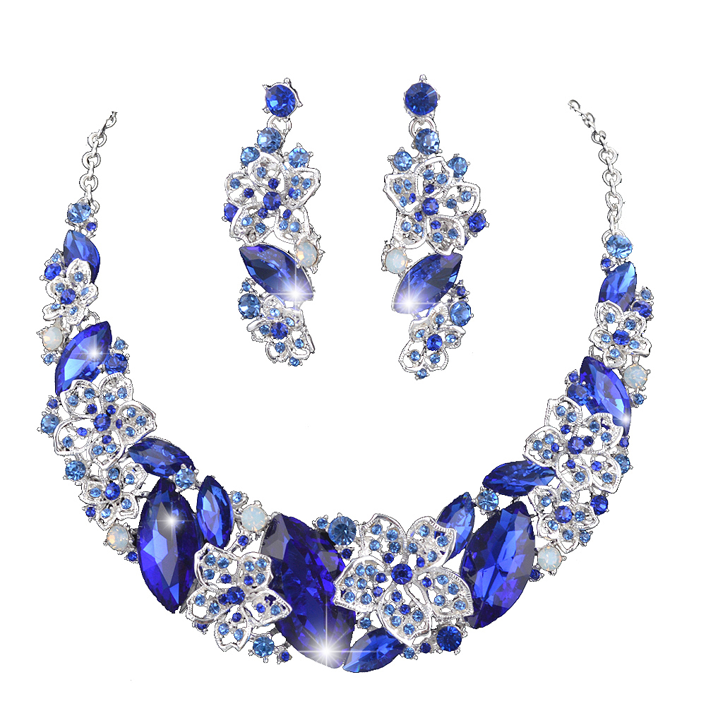 Royal blue color statement necklace earrings set bridal for Bridesmaid jewelry sets under 20