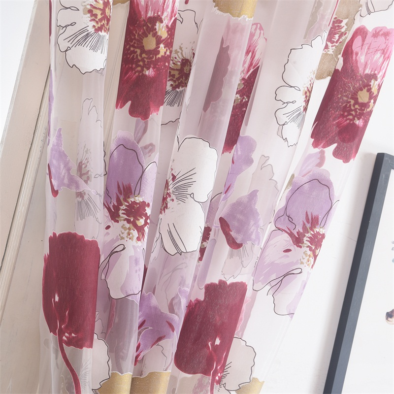 NORNE Burnt out Floral Pattern Home Tulle Sheer Voiles Curtains for Living Room Bedroom Kitchen Door Panel Window Curtain in Curtains from Home Garden