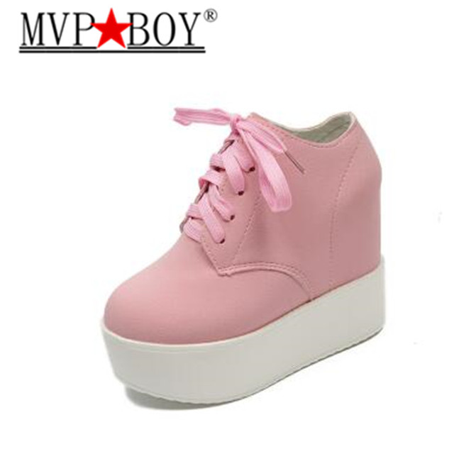 7f6033eb8a6d MVP BOY Woman Fashion Hidden Wedge Heel Lace Up Casual Shoes spring autumn women s  ultra high heels shoes women singles