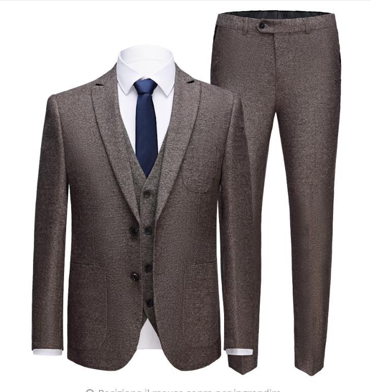 Jacket+Vest+Pants)2019 New Causal High Quality Classic Suits Men's Slim Fit Business Wedding Suit Tailor-Made Suit Male Suit