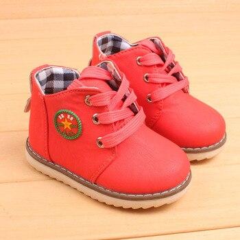 Детские ботинки для мальчиков и девочек, плюшевые ботинки из хлопка с ручной строчкой, теплые кожаные ботинки