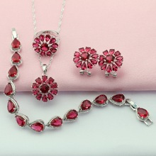 Flower Ashley Ruby Red Silver Color Jewelry Sets For Women choker Necklace/Pendant/Hoop Earrings/Bracelet/Ring Free Gift Box