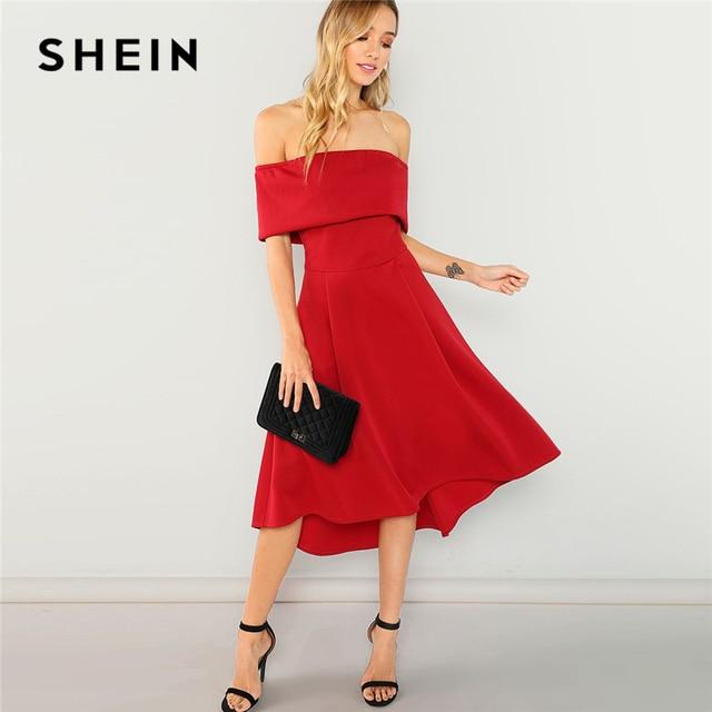 43bd2bbd9f SHEIN Red Off Shoulder Ruffle Solid Dress Elegant Party Plain Shift Long  Sexy Dresses Women Autumn