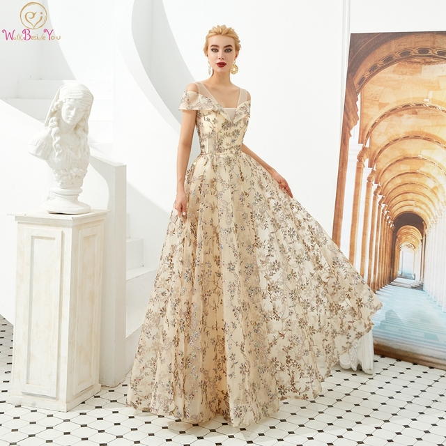 Champagne Evening Dresses Sequined 2019 V Neck A Line Bling Off Shoulder Strap Long Floor Length Lace Up Prom Gown Party Formal