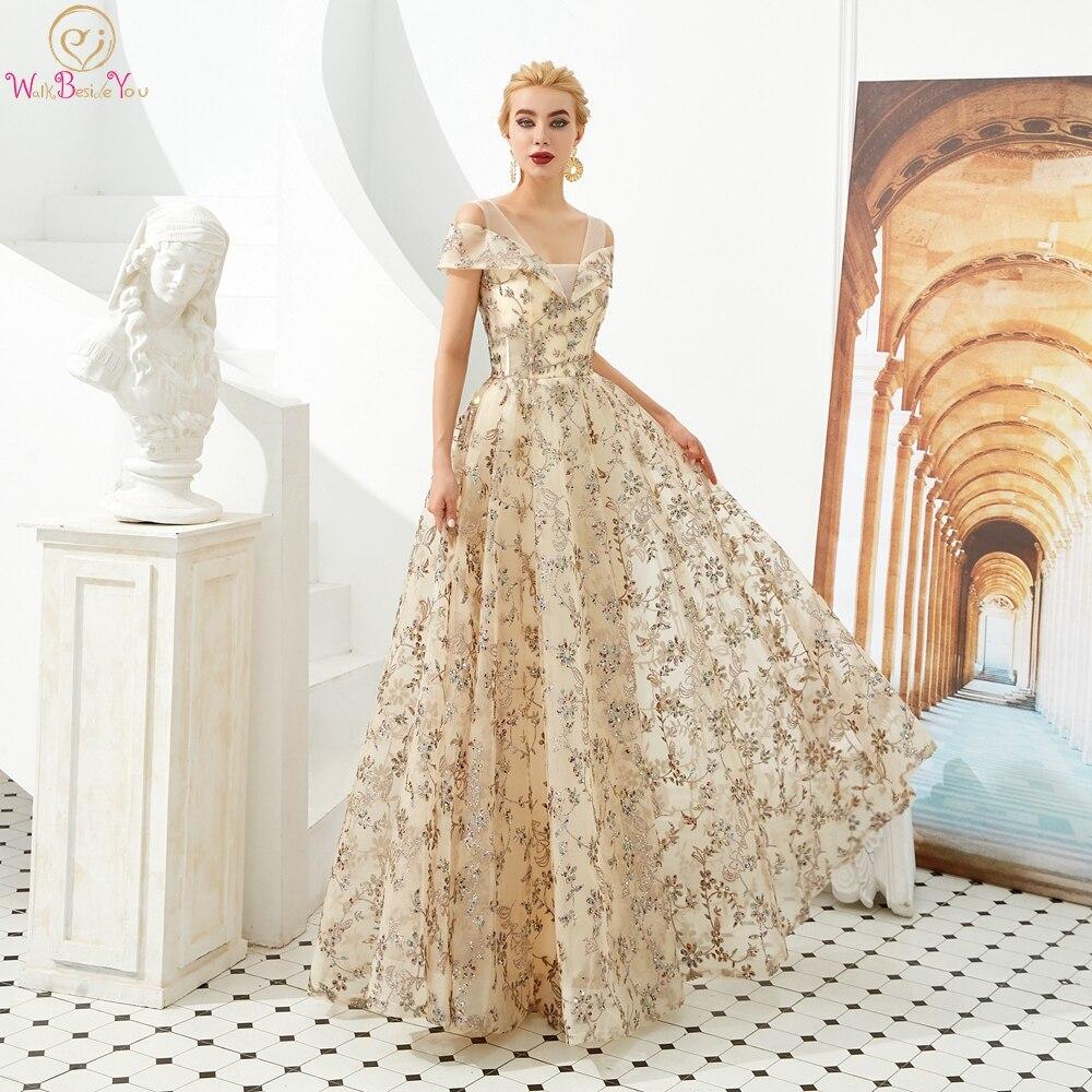 Champagne robes de soirée paillettes 2019 V cou une ligne Bling Off bandoulière longue longueur de plancher à lacets robe de bal fête formelle