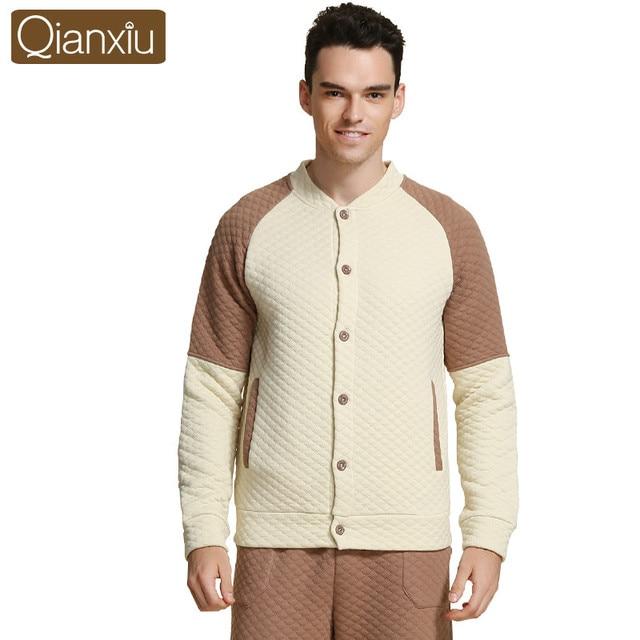 Qianxiu invierno homewear pijamas mujeres hombres patchwork para adultos parejas espesar conjuntos de pijamas ropa de dormir de mujer 1554