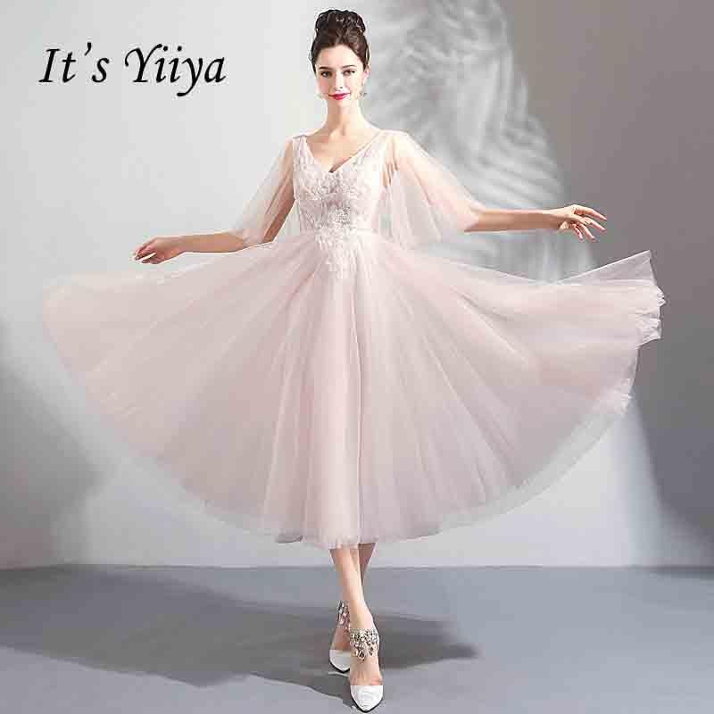 ece948ff5e It s YiiYa Backless Flower Tea-Length Prom Gown Beading Elegant V-neck Ball  Gown