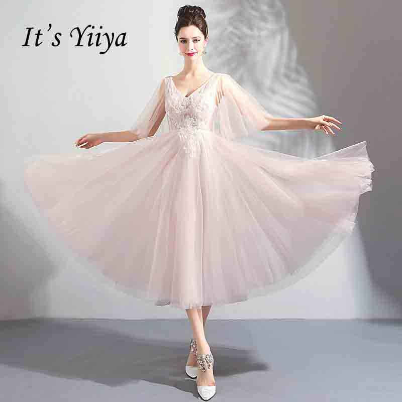 51fbb914add7 Detail Feedback Questions about It's YiiYa Backless Flower Tea Length Prom  Gown Beading Elegant V neck Ball Gown Lace Up Luxury Prom Dancing Party  Dresses ...