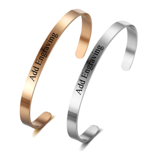 Rose Gold Custom Name Bangle Bracelets Adjule Stainless Steel For Women Men Personalized Initial