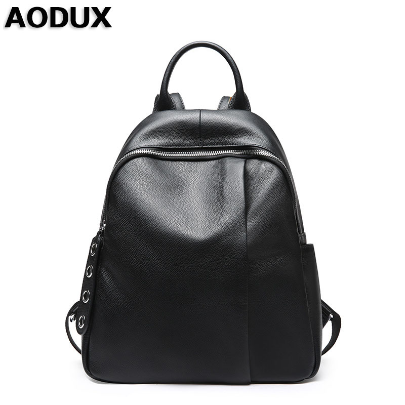 AODUX Female Real Natural Leather Backpack Genuine Leather Women Backpacks Ladies Girl School Bag Cowhide Schoolbag zency fashion leather backpack real natural genuine leather women backpacks ladies girl school bag top layer cowhide mochila