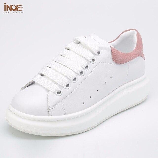 Inoe/модные туфли на плоской подошве из натуральной коровьей кожи Повседневная весна-осень кроссовки обувь для женщин на шнуровке обувь для отдыха черный белый красный 35-42