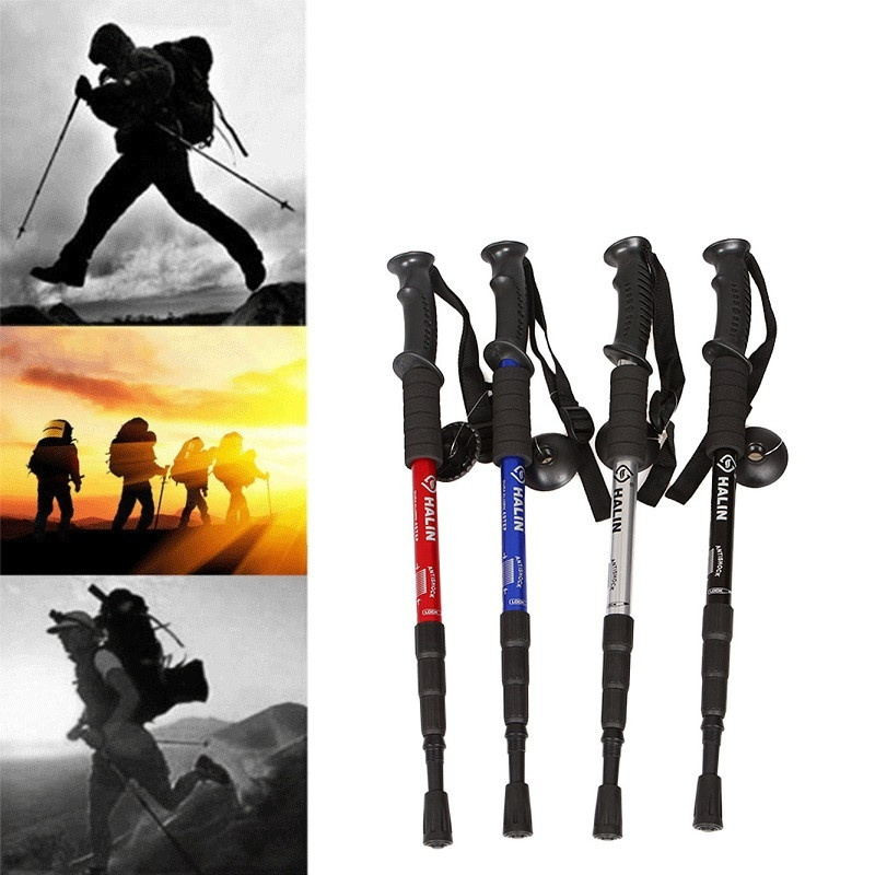 Anti Shock Hiking Walking Trekking Trail Poles Stick Adjustable Canes 4-Sections W22524