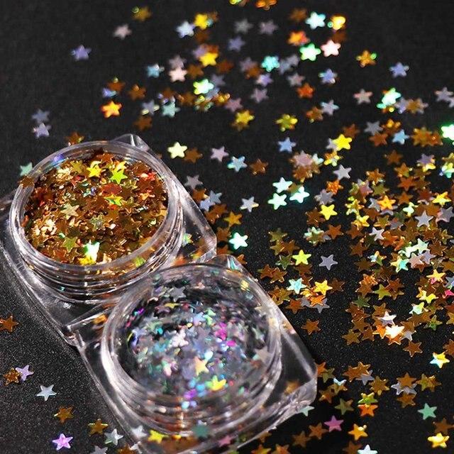 1 caja de maquillaje de uñas 3D 3mm dorado y plateado estrella arte de uñas brillo delgados copos de Paillette lentejuelas láser manicura bricolaje Decoración
