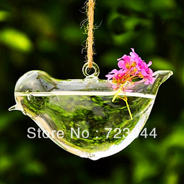 Artistic Love Bird High boron silicon heat-resistant glass  Hanging Glass  Vase Free Shipping