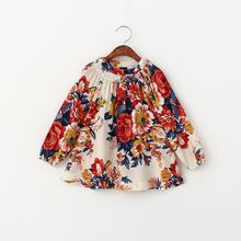 Everweekend 2016 New Kids Girls Floral Print Ruffles T Shirts Cotton Linen Spring Fall Long Sleeve