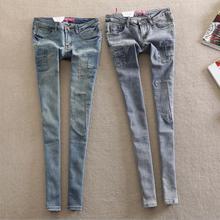 7 размеры мода марка хлопок карандаш джинсы Корейский стиль патч был тонкий тонкие джинсы брюки брюки карандаш женщина J33 бесплатная доставка