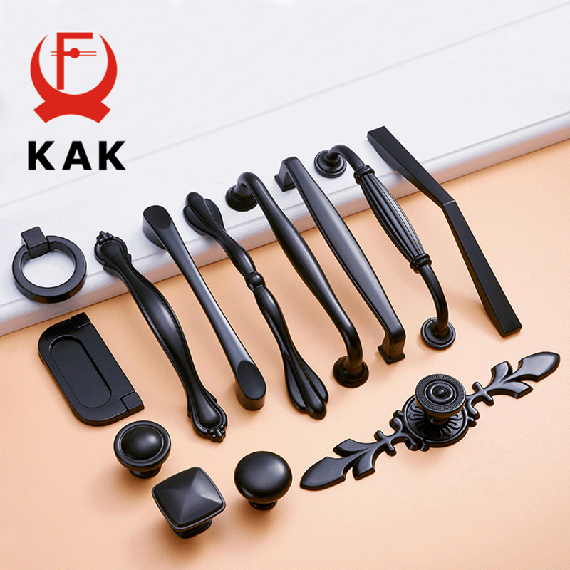 KAK Zinc Aolly Black Cabinet Handles American style Kitchen Cupboard Door Pulls Drawer Knobs Fashion Furniture Handle Hardware