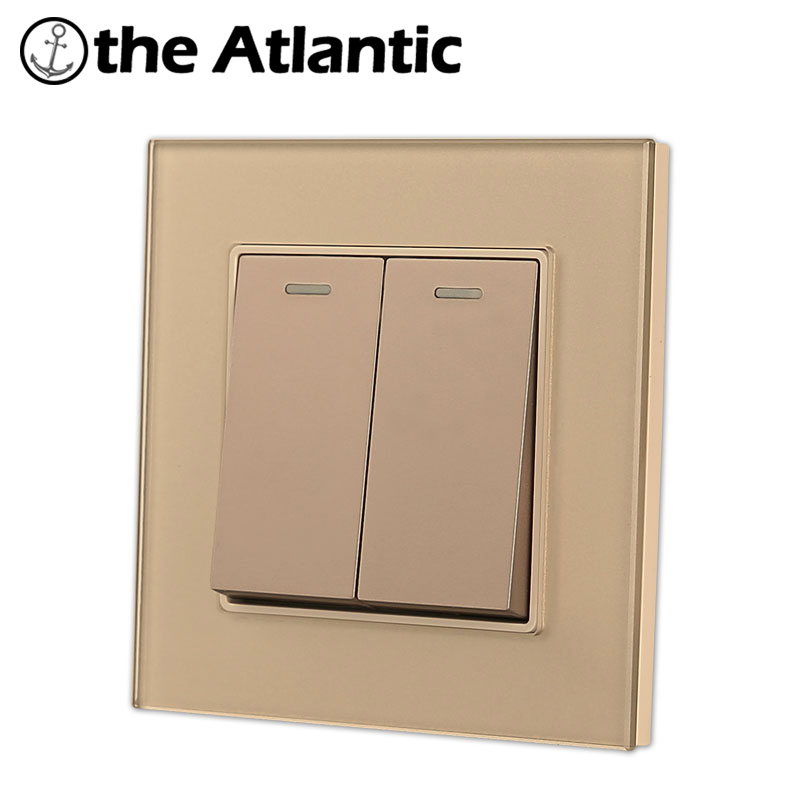 Atlantic 4 Color 16A 2 Gang 2 Way Push Button Light Wall Switch Universal Hotel Luxury Crystal Tempered glass UK EU StandardAtlantic 4 Color 16A 2 Gang 2 Way Push Button Light Wall Switch Universal Hotel Luxury Crystal Tempered glass UK EU Standard