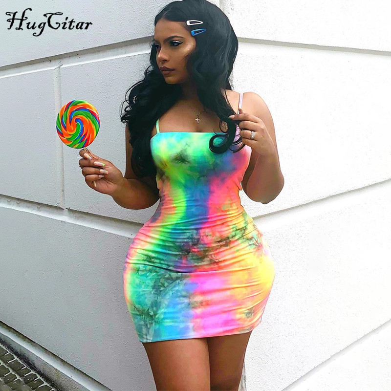 Hugcitar Tie Dye Print Colorful Spaghetti Straps Sexy Bodycon Mini Dress 2019 Summer Women Fashion Club Party Streetwear