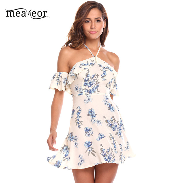 a971f30341 Meaneor 2018 Floral Beach Dress Backless Off Shoulder Summer Ruffle Sleeves Sexy  Mini Length Dress vestidos elastic
