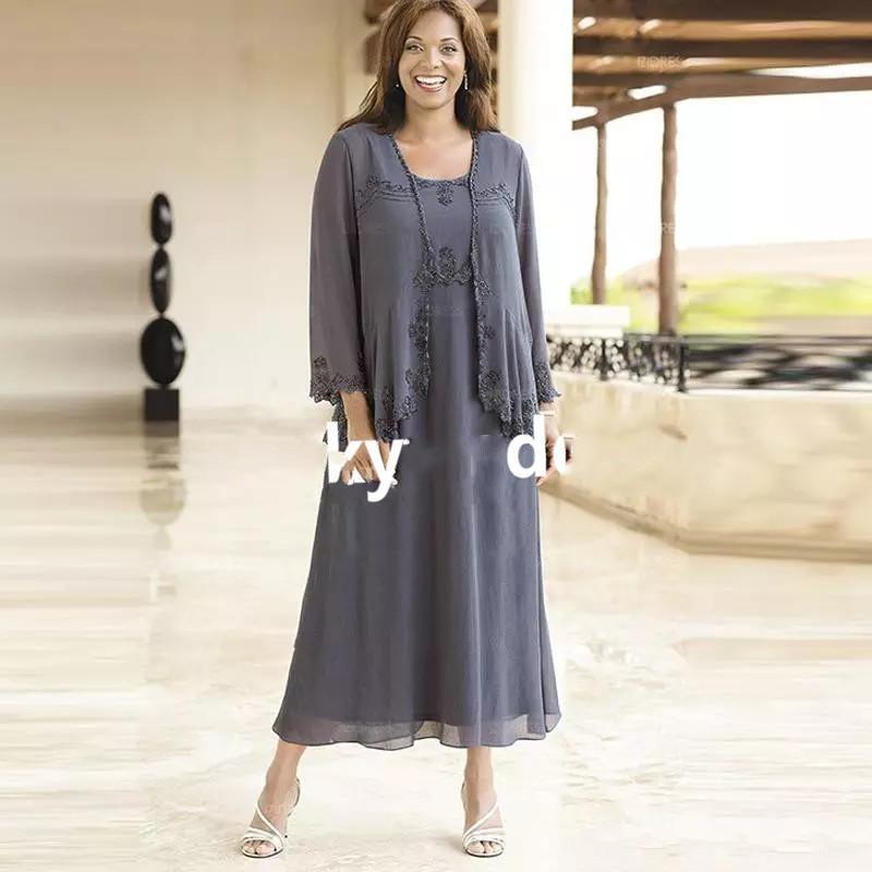 Plus Size Women Chiffon Mother Of The Bride Dress Evening Formal Wedding Jacket