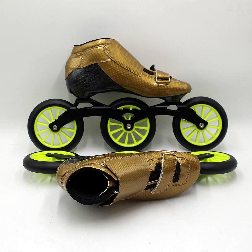 Patins de vitesse STS patinage manuel chaussures de patinage de vitesse en ligne rouge et vert patins à roulettes roues de vitesse