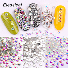 цена на Elessical 1440 pcs/bag 3d strass nail art rhinestones Crystal decorations for nails accessories Design Glass Nail stone AB clear