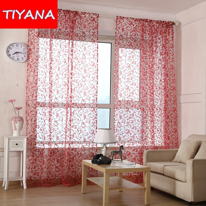 Red pink coffee yellow pteris tulle curtains for living room flower sheer voile curtains for for Red and cream curtains for living room