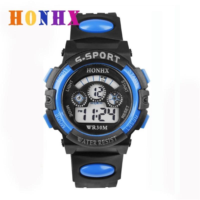 HONHX New Style Waterproof Alarm Date Sports Children Boys Digital LED Sport Wrist Watch New Design Clocks 5 Colors High Quality