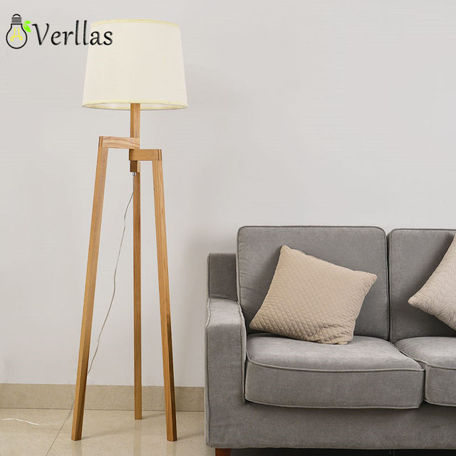 Online Shop Wooden Floor Lamp Modern With Foot Switch Living Room