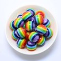 Free Shipping! 100 pcs/lot Rainbow 20mm Chunky Resin Stripe Beads For Chunky Necklace Jewelry