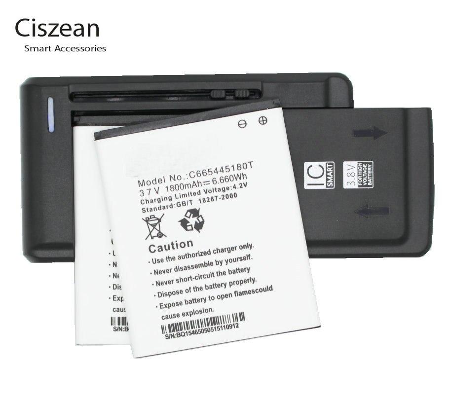 Ciszean 2x 3.7V 1800mAh Replacement Li-ion Battery +Universal Charger C665445180T For BLU NEO 4.5 S330L D330 D330L batteries