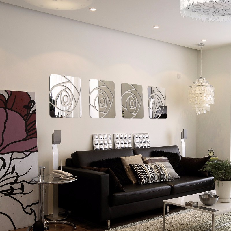 Vote February Room Finalists 2014: 3D Mirror Wall Stickers Modern Decorative Acrylic Wall