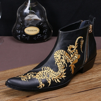 Italian style men cowhide leather ankle boots short pointed embroidery leather shoes Black dragon print cool boots men