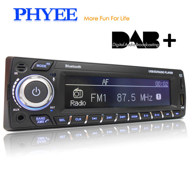 PHYEE Dab Car Radio Autoradio 1 Din Stereo Audio MP3 Player RDS FM AM App Functions USB TF ISO Connector Remotes SX-MP31089DAB