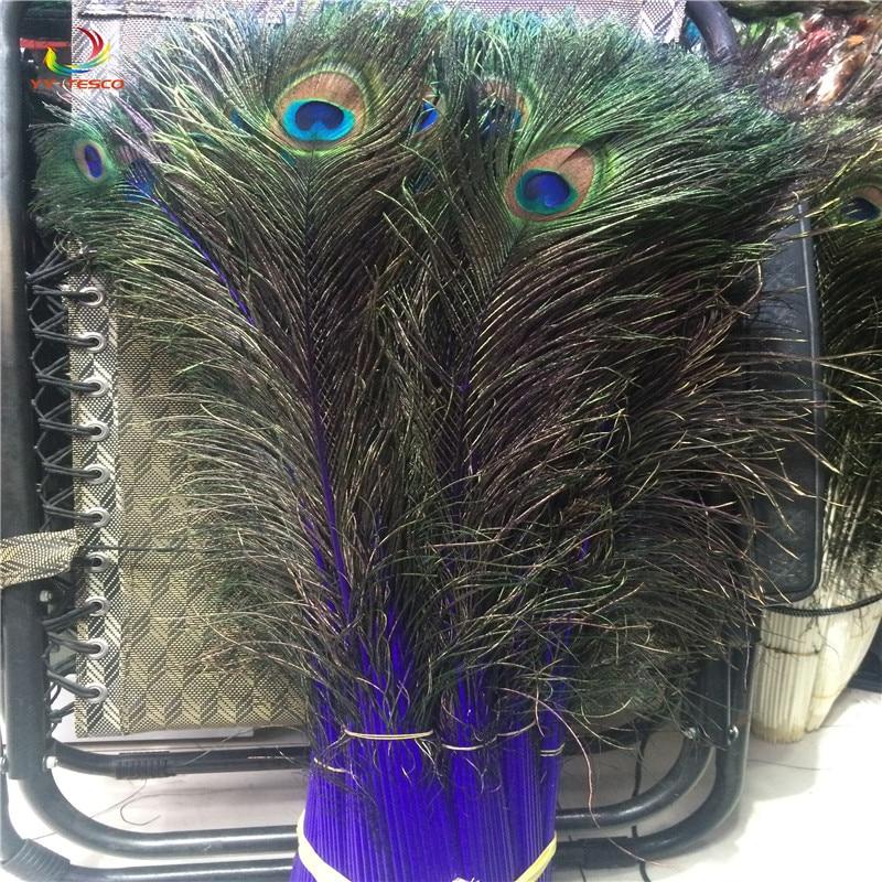 Wholesale 100pcs beautiful purple peacock feather eye 80 90cm / 32 36 inch decorative celebration stage performance diy feathers
