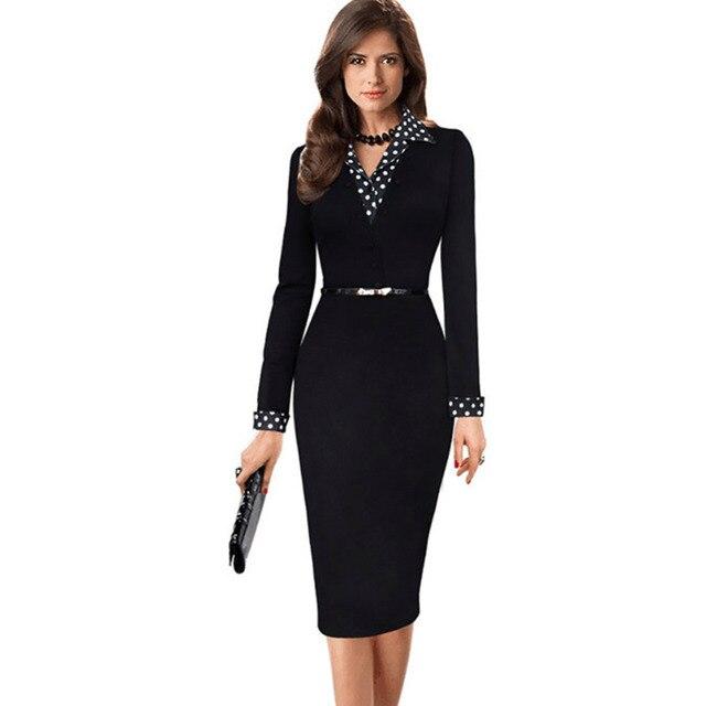 Vestido ceñido al cuerpo de tubo con solapa de lunares de contraste de retazos de imitación elegante para mujer