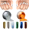 Gold holographic Powder Magic Mirror Chrome Powder Makeup Dust Nail Art DIY Pigment Glitters Metallic With Sponge Stick