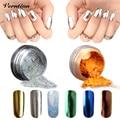 Gold holographic Powder Magic Mirror Chrome Powder Makeup Dust Nail Art DIY Pigment Glitters Metallic With Sponge Stick