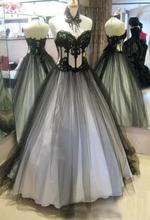 Vintage Black and White Gothic Wedding Dresses Appliqued Lace Bridal Ball Gowns with Necklace Custom Made Robe de Mariage