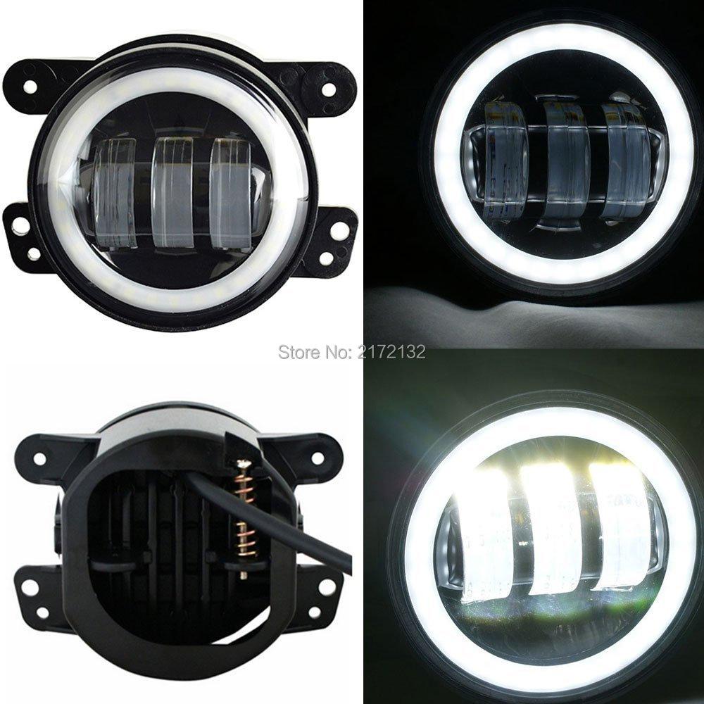 """2PCS 4/"""" 30W CREE LED Fog Lights 6000K White Lamp DRL For 2007 Jeep Wrangler JK"""
