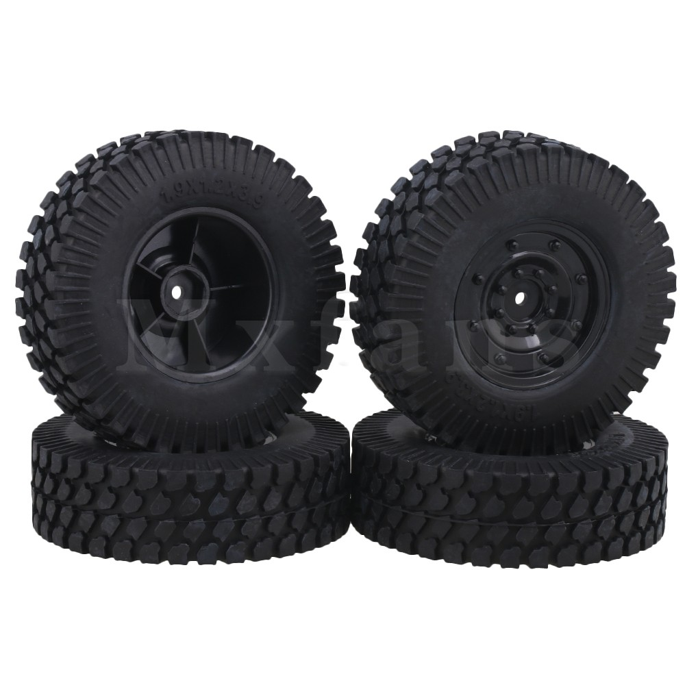 Mxfans 10cm Dia RC 1:10 Gravel Pattern Rubber Tire & Plastic Imitate Wheel Rims for Rock Crawler Pack of 4