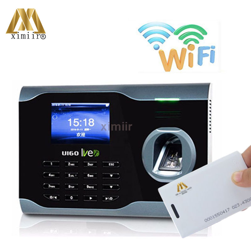 TCP/IP,WIFI Communication U160 Fingerprint Time Clock Linux System Fingerprint Recognition Time Attendance With RFID Card Reader