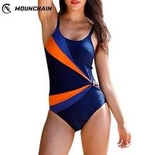 One Piece Swimsuit 2019 Women Sexy Swimwear Color Matching Triangular Backless Bikini Set