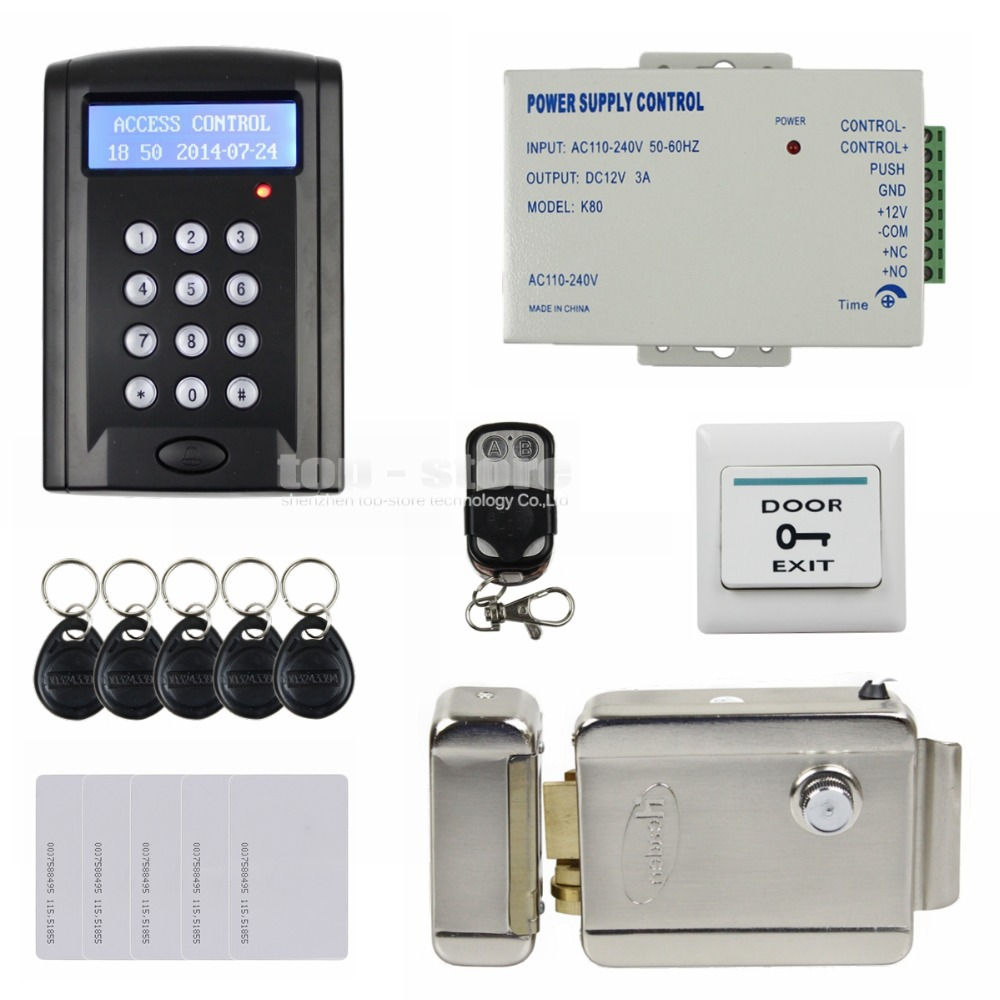 DIYSECUR Remote Control Electric Lock LCD 125KHz RFID Reader Password Keypad Access Control Door Lock System Kit Security SystemDIYSECUR Remote Control Electric Lock LCD 125KHz RFID Reader Password Keypad Access Control Door Lock System Kit Security System