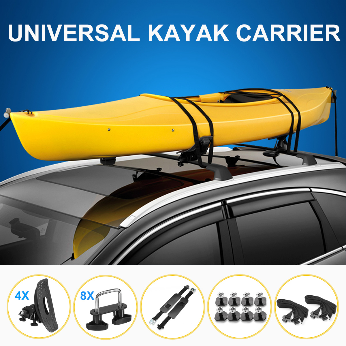 Universal Kayak Rack Holder Kayak Carrier Saddle Watercraft Roof Rack Arm Canoe Boat Car Roof Rack Kayak Accessories
